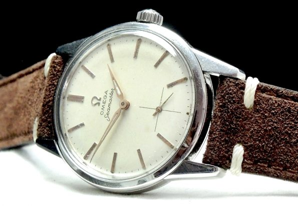 Serviced Omega Seamaster Watch with Vintage Ecru Strap