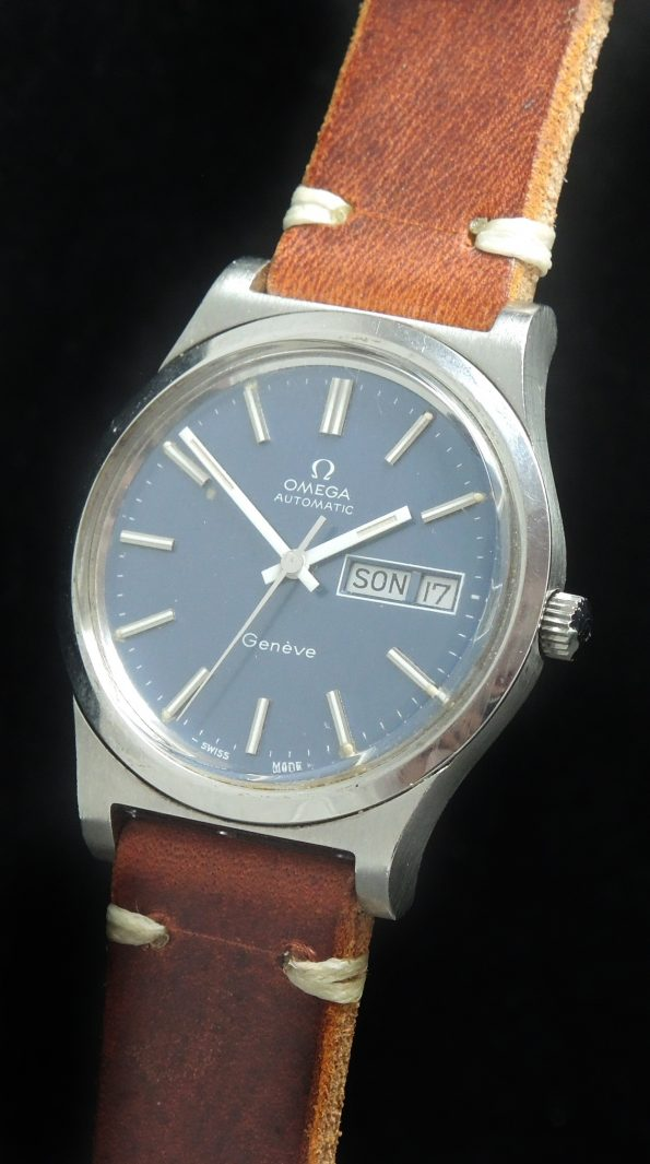 Amazing Omega Geneve Automatic Day Date blue Dial Steel