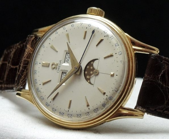 Omega Triple Date Moonphase Vintage Day Date Cosmic Gold