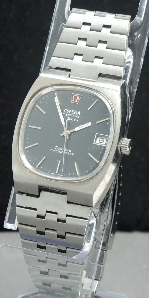 Original Omega Electronic f300 Chronometer with blue linen dial