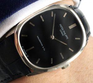 Superrare 18ct White Gold Patek Philippe Ellipse black dial Weissgold Vintage