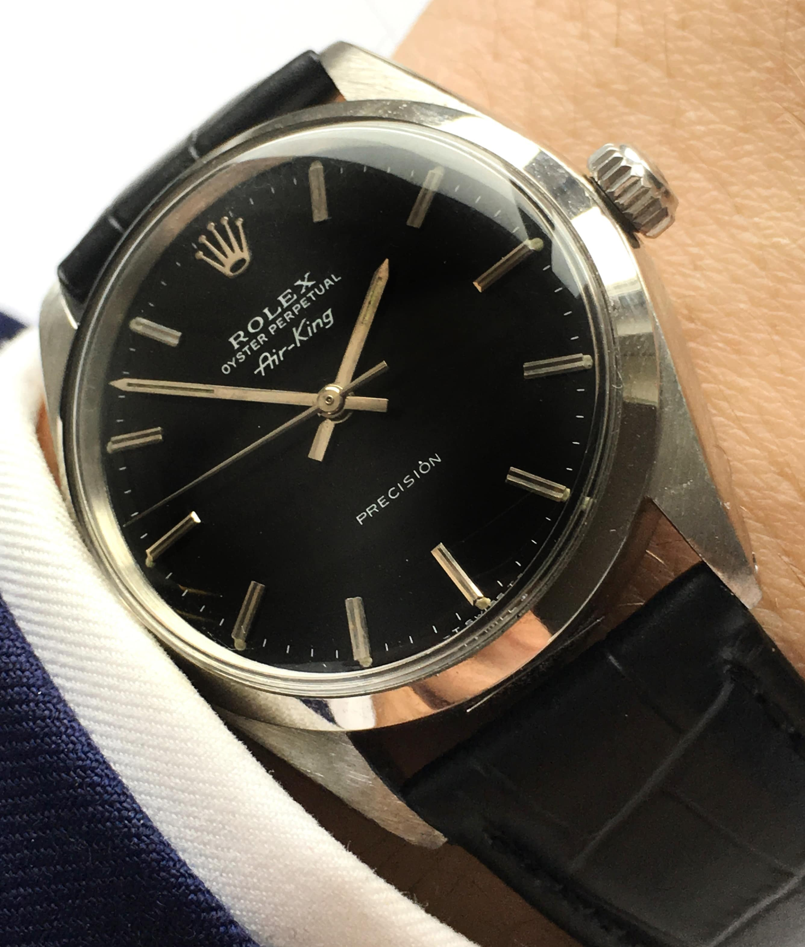 Serviced rolex air king automatic black dial vintage portfolio for Rolex air king