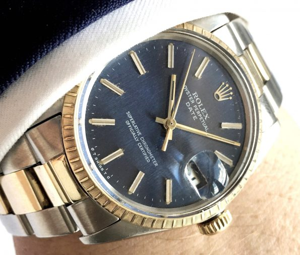 Rolex Date Datejust Steel Gold 35mm blue linen dial Automatic