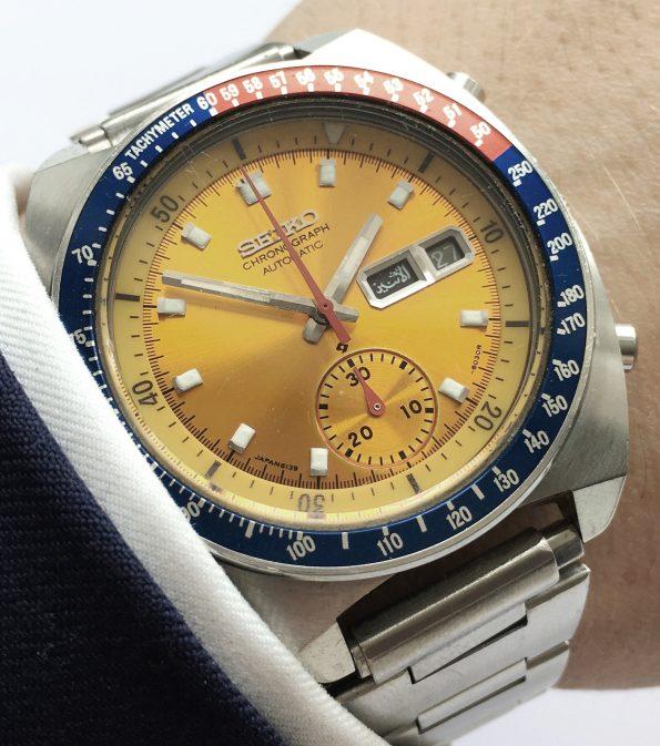 Seiko Pepsi Pogue Vintage Chronograph yellow dial