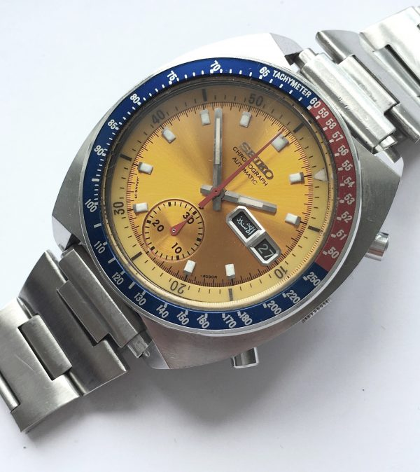 Seiko Pepsi Pogue Vintage Chronograph yellow dial