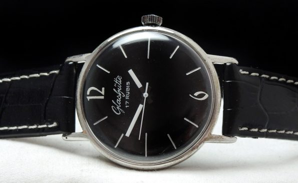 Vintage Glashütte black dial 36mm