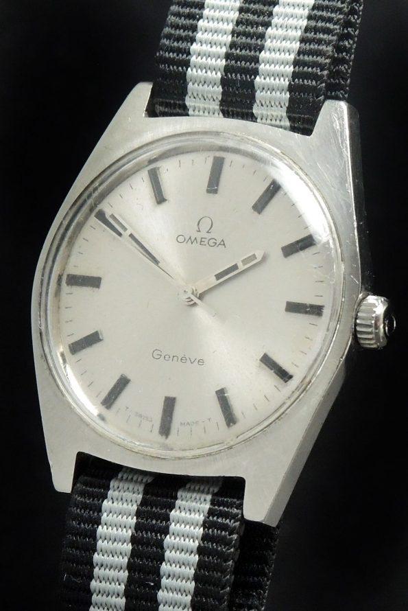 Vintage Omega Geneve Steel Onyx Indices