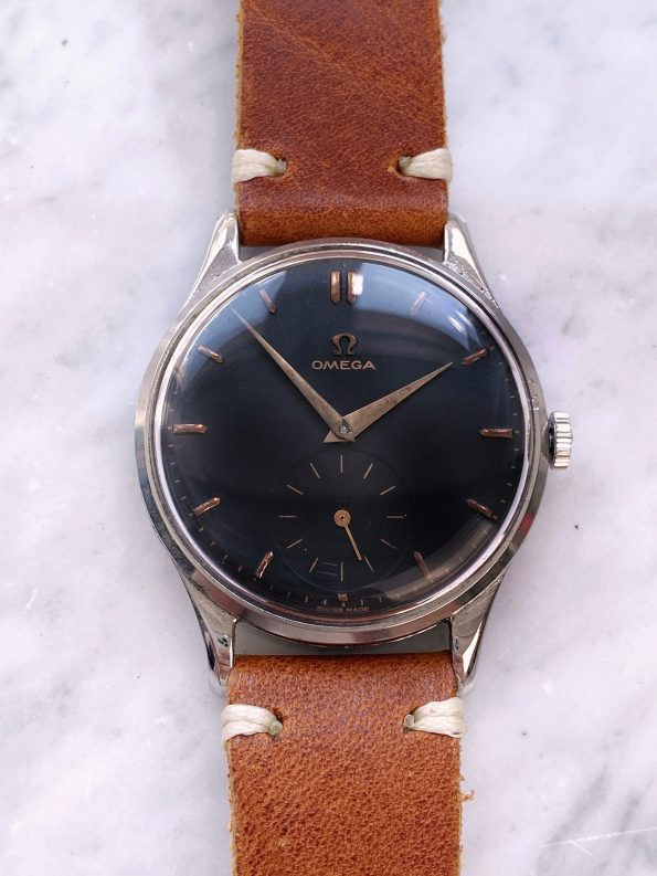 Serviced Vintage Omega Oversize Jumbo Black Restored Dial ref 2181