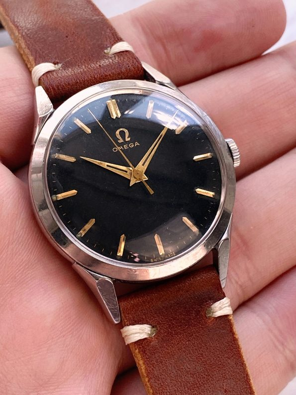 Serviced Vintage Omega 35.5mm ref 2608 with Original black gilt dial radium lume