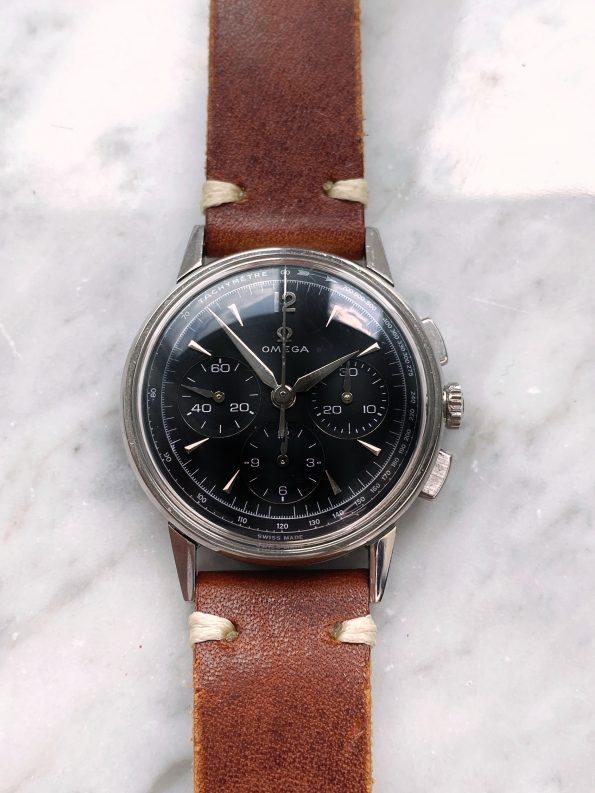 Vintage Omega 35mm Chronograph Steel Restored Black Dial 2279 cal 321
