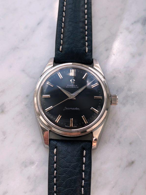Professionally Restored Vintage Omega Seamaster Automatic Big Seahorse Logo black dial