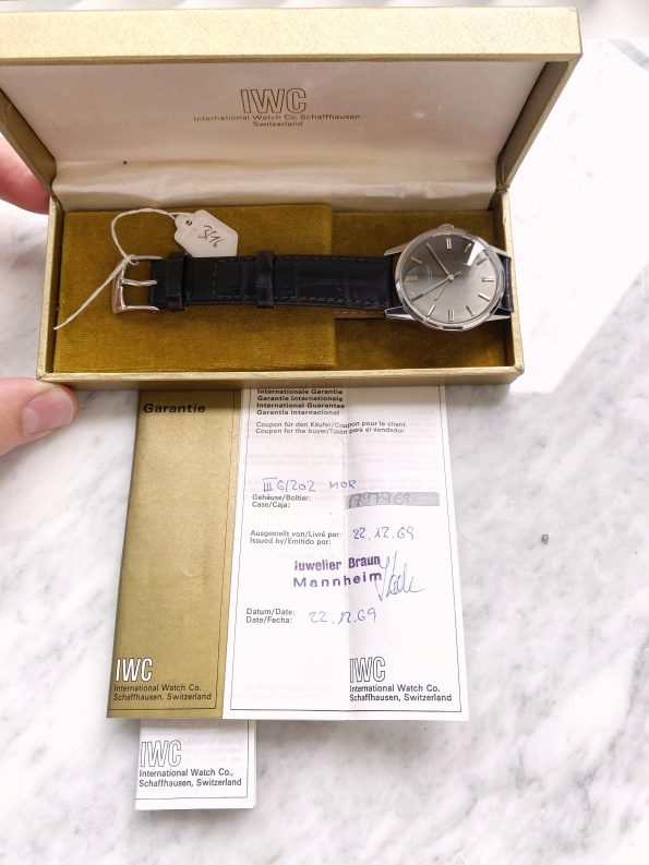 Perfect Near NOS and Rare IWC Automatic Vintage Watch Full Set Box Papers with Grey Linen Dial