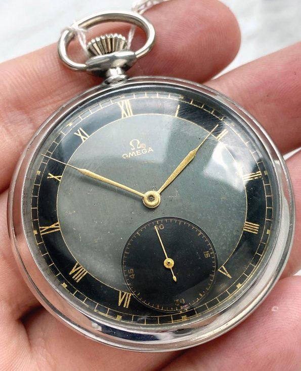 Superrare Omega Vintage Black Grey Two Tone Sector Dial Bullseye Pocket Watch
