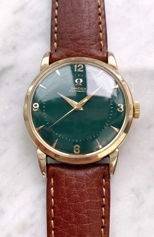 Yellow Gold plated Omega 33mm Automatic Bumper customised green dial ref 2445