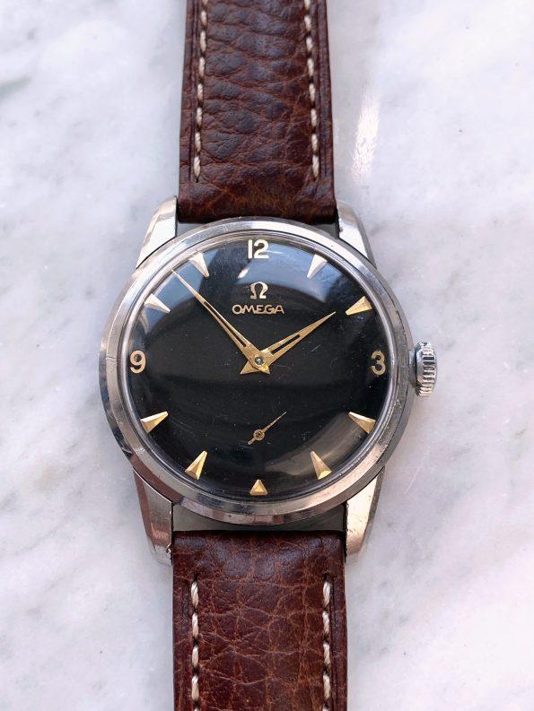 Serviced Vintage Omega 34mm ref 2903 with poorly restored black dial