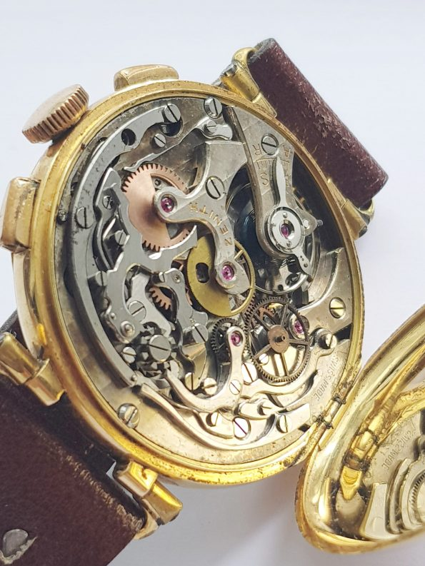 1930ties EARLY Zenith Sector dial Chronograph 37mm Jumbo Oversize Gold