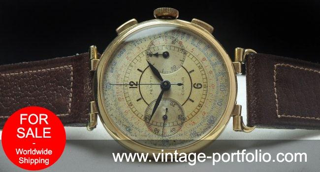 Zenith Sector dial Chronograph 37mm Jumbo Oversize Gold