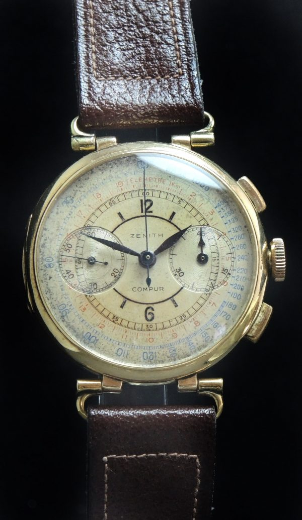 Zenith Sector dial Chronograph 37mm Jumbo Oversize Gold