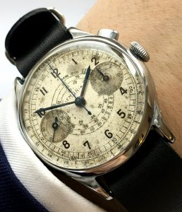 Rare Lemania 37mm One Pusher Button Chronograph 40ties