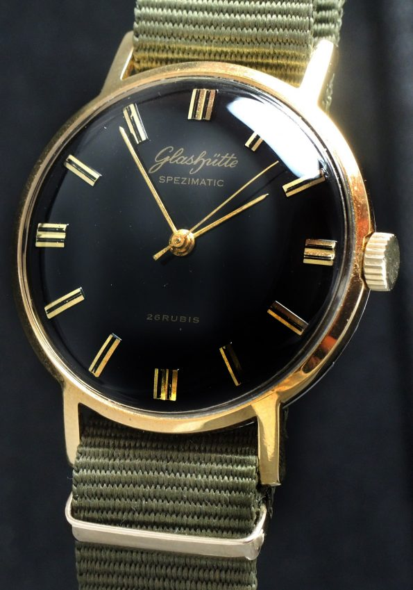 Perfect Glashütte Vintage Watch with black dial automatic