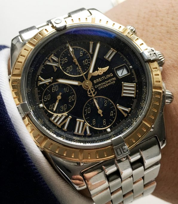 Perfect Breitling Crosswind with black dial and golden bezel