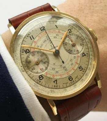 Wonderful Omega Vintage Chronograph Gold Jumbo Oversize