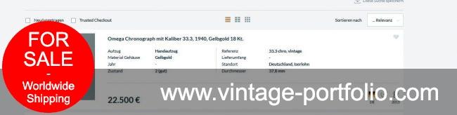 Omega Vintage Chronograph Gold Jumbo Oversize 33.3 37mm