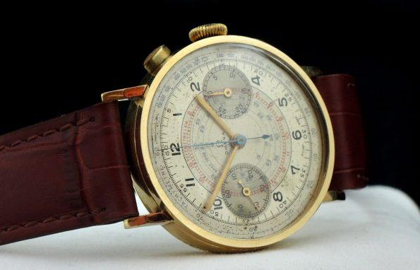 Seltener Omega 33.3 Vintage Chronograph Gold 37mm Jumbo
