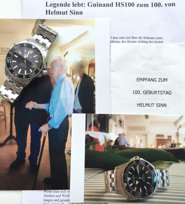 Helmut SINNs personal watch Guinard Diver and Merit with his Signature