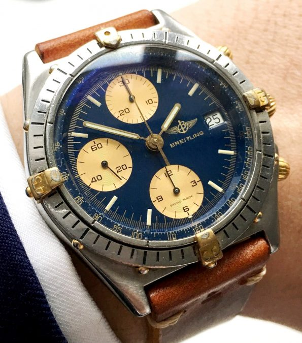 RESERVED Original Breitling Chronomat with blue dial and vintage strap