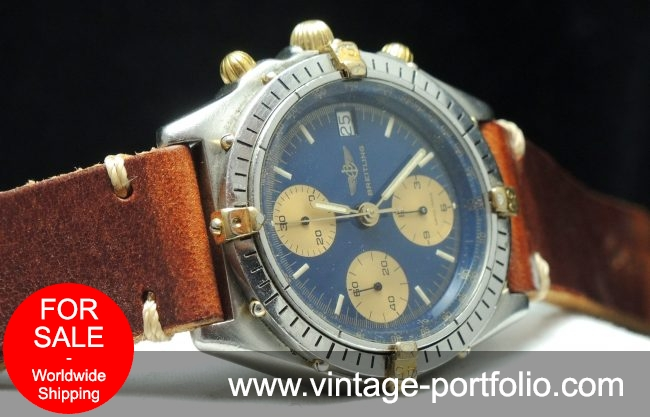Original Breitling Chronomat with blue dial and vintage strap