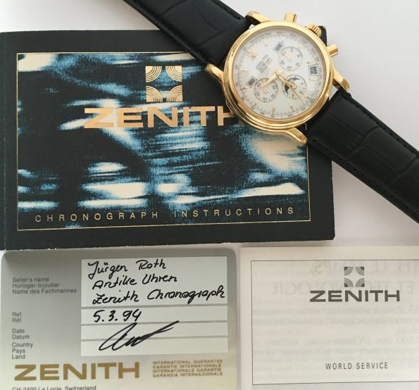 Zenith Vollkalender Triple Date Monnphase 40mm with Papers