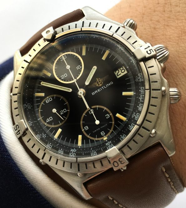 Wonderful Breitling Chronomat Automatic with black dial B13047
