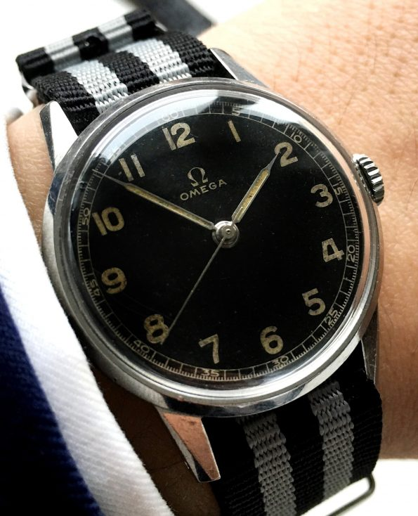 30t2 Omega Military watch with blck dial