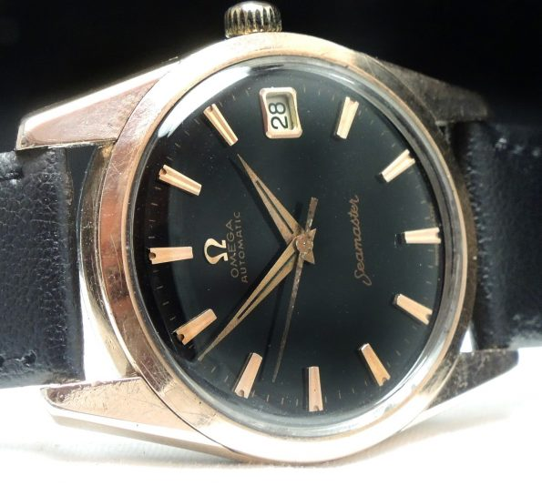 Rose Gold plated Omega Seamaster Automatic Automatik black dial