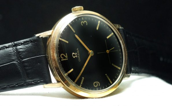Serviced Omega Lady Ladies Unisex  18 carat solid gold black dial vintage watch