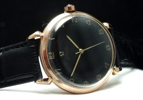 Serviced Omega Automatic Bumper black dial pink gold plated  vintage 37mm