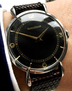 Jaeger leCoultre Vintage with teardrop lugs steel black dial