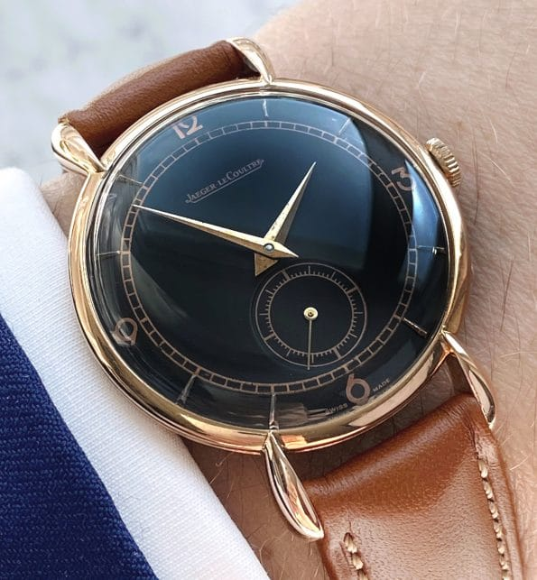 Fully Restored Jaeger LeCoultre Rose Gold Black Dial TEARDROP Lugs