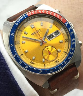 [:en]Gorgeous Seiko Chronograph Pepsi Pogue with leather strap[:de]Toller Seiko Chronograph Pepsi Pogue mit Lederband[:]