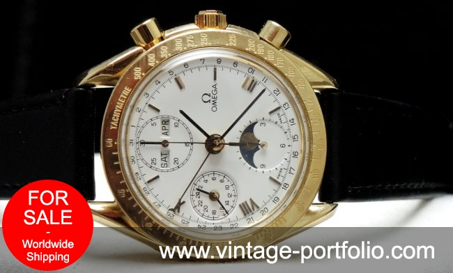 Omega Speedmaster Triple Date Moonphase Chronograph Solid Gold
