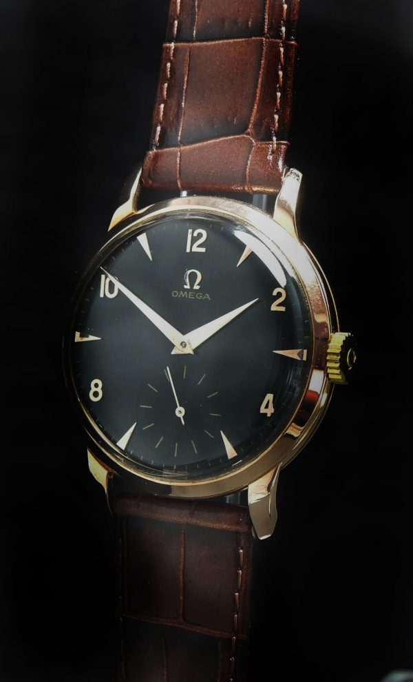 36mm Omega Vintage Solid Pink Gold black dial