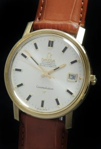 Beautiful Solid Gold Omega Constellation Calatrava Onyx Dial