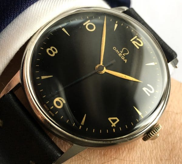 Early Omega 37mm Oversize Jumbo Vintage Black Dial 30t2