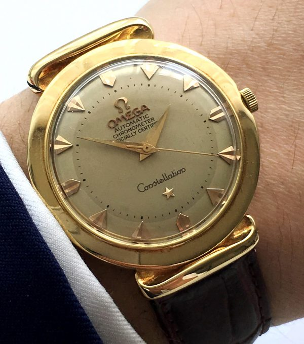 Restored Omega Constellation Pie Pan Grand Lux Solid Gold