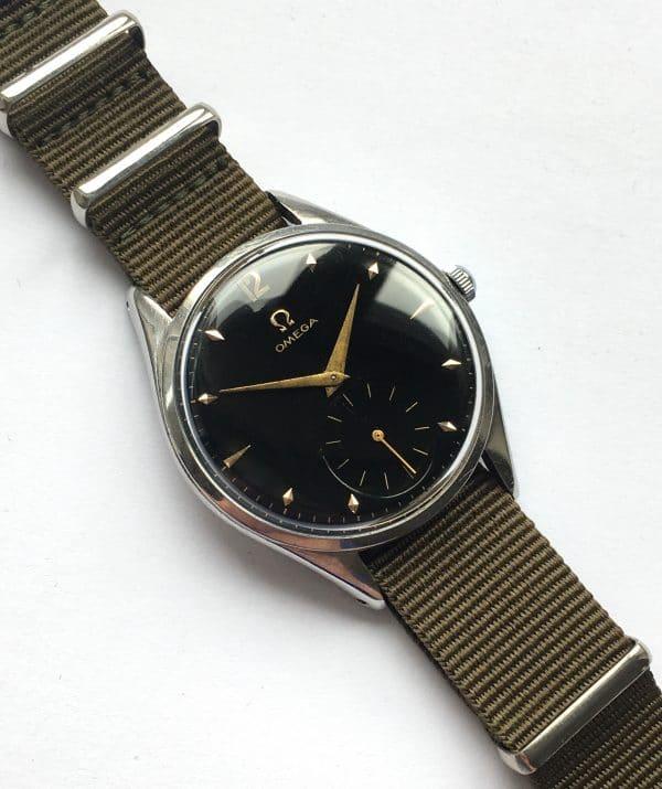 Nato Strap Omega 37mm Oversize Jumbo Vintage Black Dial