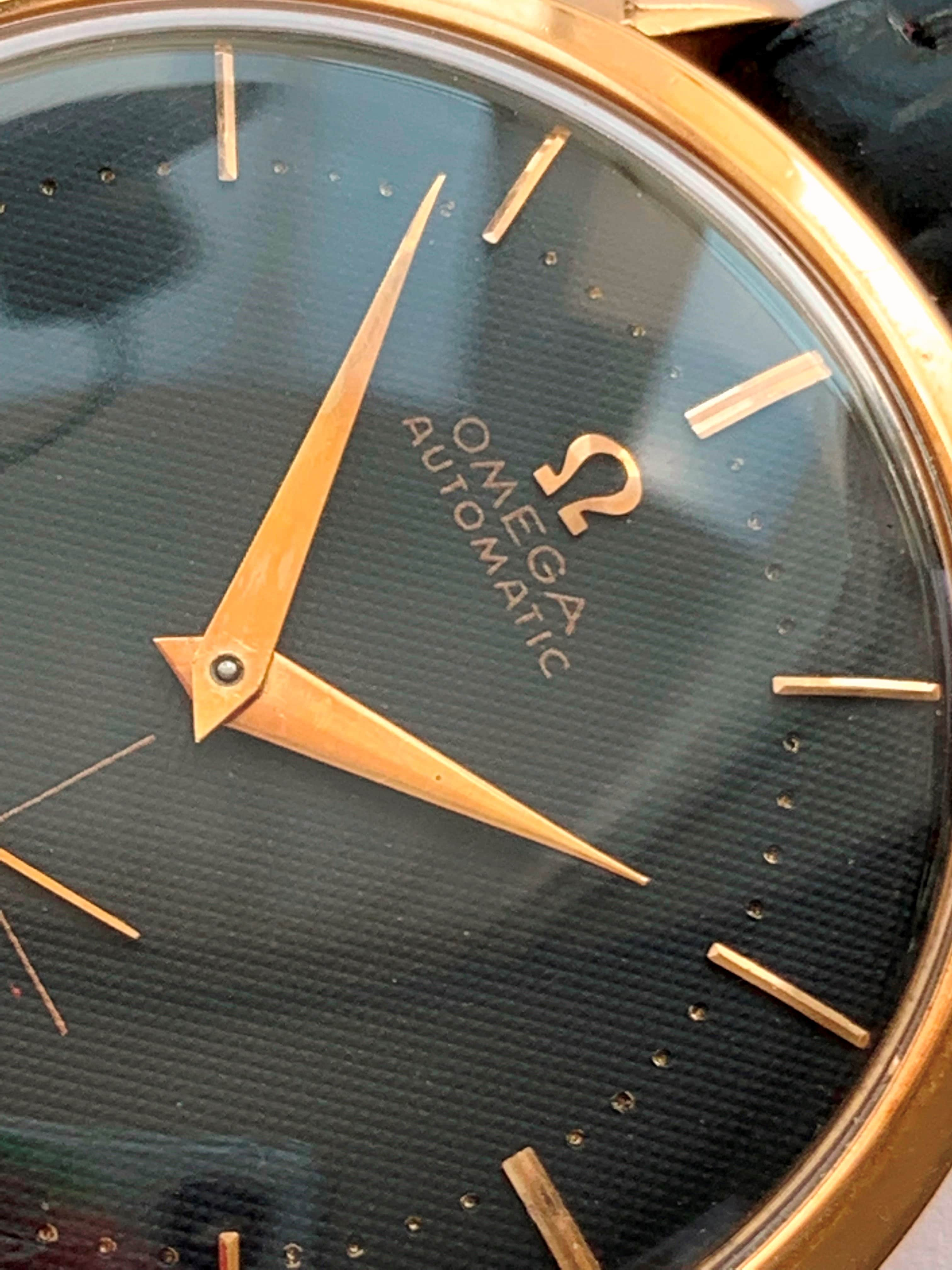 Refurbished Vintage 37mm Solid Pink Gold Hammer Automatic Omega with Honeycomb Black Dial