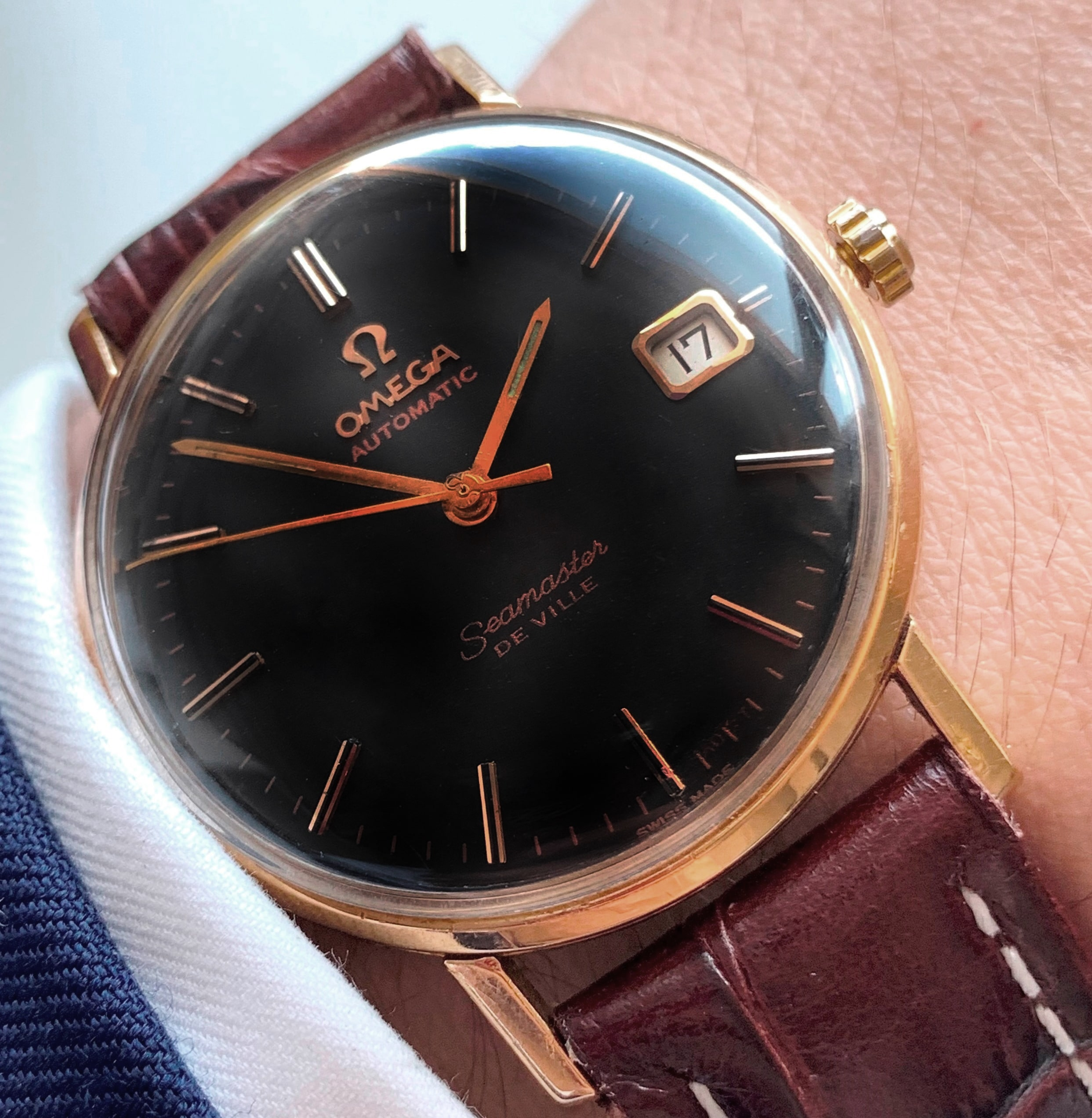 14k Solid Yellow Gold Vintage Omega Seamaster Automatic Black Dial