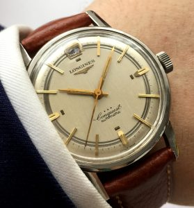 Extremely rare Longines Conquest Automatic Sector Linen dial