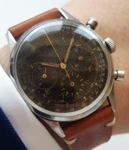 Gallet Hour Recorder Chronograph Jim Clark Black Dial GILT